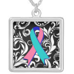 Thyroid Cancer Ribbon Deco Floral Noir Square Pendant Necklace