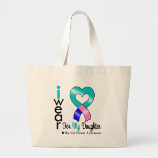Thyroid Cancer Ribbon For My Daughter Tote Bags
