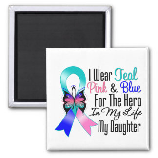 Thyroid Cancer Ribbon Hero My Daughter Square Magnet