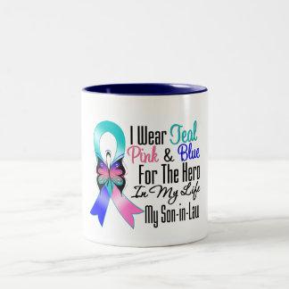 Thyroid Cancer Ribbon Hero My Son in Law Two-Tone Mug