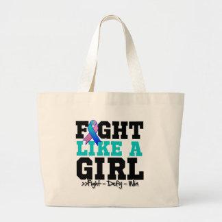 Thyroid Cancer Sporty Fight Like a Girl Canvas Bag