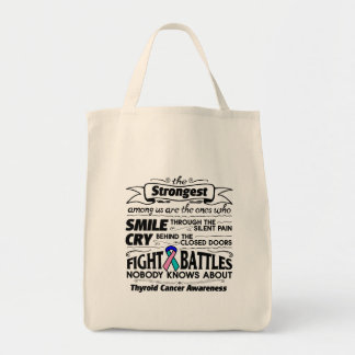 Thyroid Cancer Strongest Among Us Grocery Tote Bag