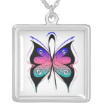 Thyroid Cancer Stylish Butterfly Awareness Ribbon Square Pendant Necklace