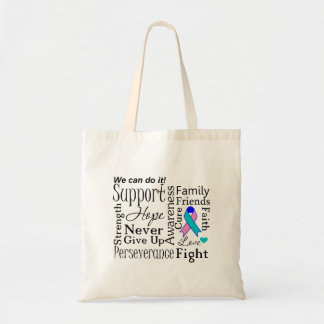 Thyroid Cancer Supportive Words Canvas Bag