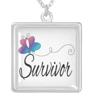 Thyroid Cancer Survivor Butterfly Ribbon Custom Jewelry