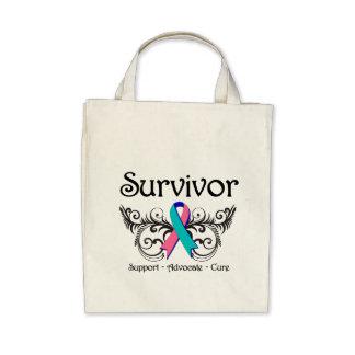 Thyroid Cancer Survivor Floral Deco Tote Bag