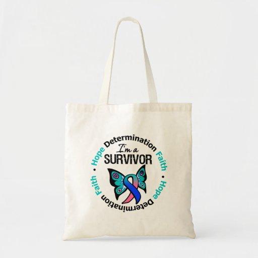 Thyroid Cancer Survivor Hope Determination Faith Canvas Bag