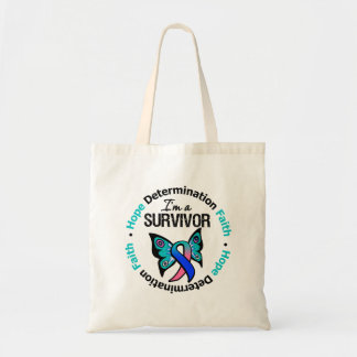 Thyroid Cancer Survivor Hope Determination Faith Budget Tote Bag