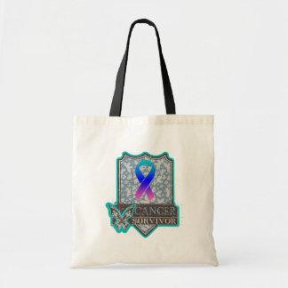 Thyroid Cancer Survivor Vintage Butterfly Budget Tote Bag