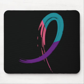 Thyroid Cancer Teal, Purple, And Pink Ribbon A4 Mouse Pad