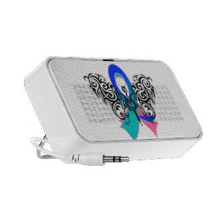 Thyroid Cancer Tribal Butterfly Ribbon Laptop Speaker