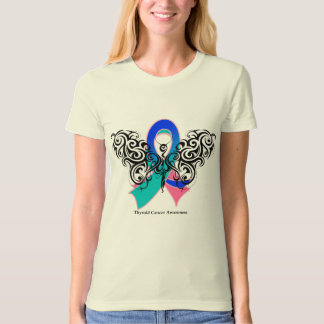Thyroid Cancer Tribal Butterfly Ribbon Tee Shirt