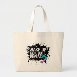 Thyroid Cancer Wake Up Kick Butt Repeat Large Tote Bag
