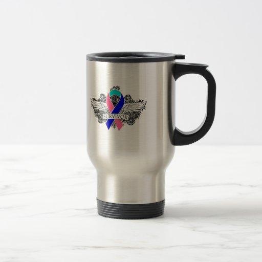 Thyroid Cancer Winged SURVIVOR Ribbon Coffee Mug