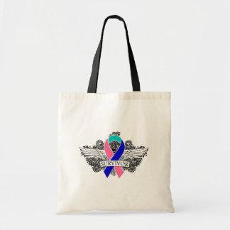 Thyroid Cancer Winged SURVIVOR Ribbon Budget Tote Bag