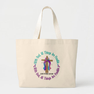 Thyroid Cancer WITH GOD CROSS Jumbo Tote Bag