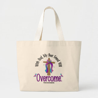 Thyroid Cancer With God My Best Friend Will Overco Jumbo Tote Bag