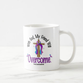 Thyroid Cancer With God My Friend Will Overcome Basic White Mug