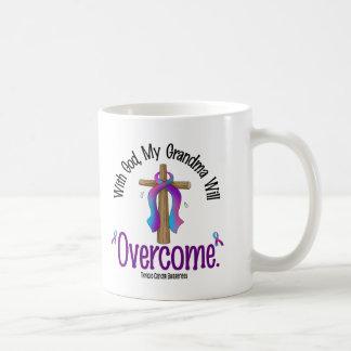 Thyroid Cancer With God My Grandma Will Overcome Basic White Mug