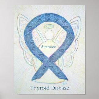 Thyroid Disease Awareness Ribbon Angel Art Poster