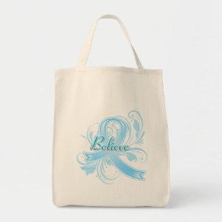 Thyroid Disease Believe Flourish Ribbon Canvas Bags