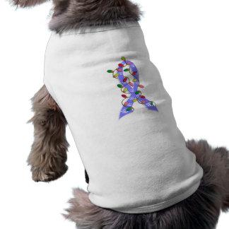 Thyroid Disease Christmas Lights Ribbon Dog Tshirt
