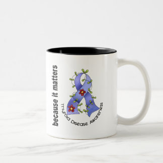 Thyroid Disease Flower Ribbon 3 Coffee Mugs