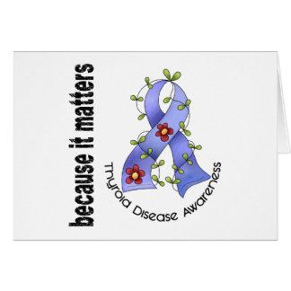 Thyroid Disease Flower Ribbon 3 Greeting Card