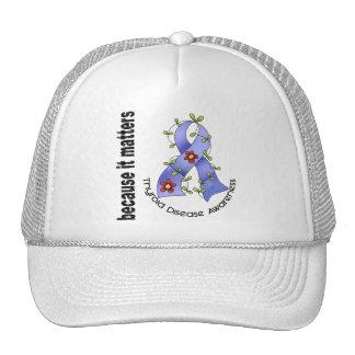 Thyroid Disease Flower Ribbon 3 Mesh Hats