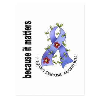 Thyroid Disease Flower Ribbon 3 Postcard