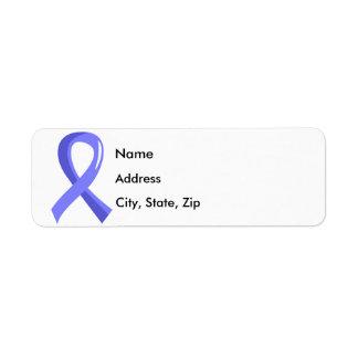 Thyroid Disease Light Blue Ribbon 3 Return Address Label