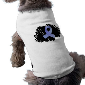Thyroid Disease Light Blue Ribbon With Scribble Dog T Shirt