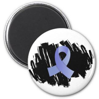 Thyroid Disease Light Blue Ribbon With Scribble Fridge Magnets