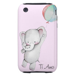 Ti Amo Baby Elephant Pink iPhone 3 3GS Case iPhone 3 Tough Covers