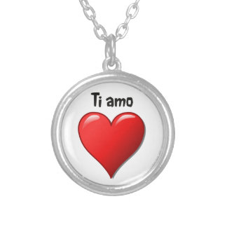 Ti amo - I love you in Italian Round Pendant Necklace