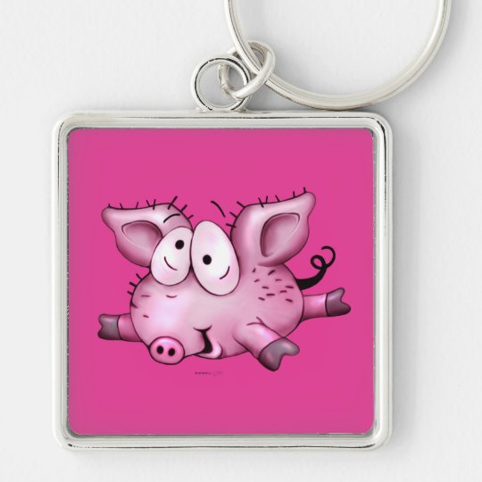 Ti-PIG BUTTON  Premium Square Keychain LARGE
