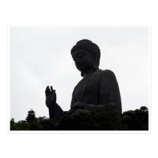 tian tan buddha silhouette postcard