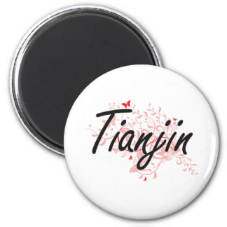 Tianjin China City Artistic design with butterflie 6 Cm Round Magnet