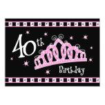 Tiara 40th Birthday 13 Cm X 18 Cm Invitation Card
