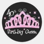 Tiara 40th Birthday Queen DK Classic Round Sticker