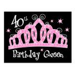 Tiara 40th Birthday Queen DK Postcard