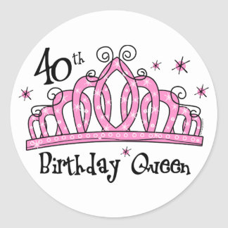 Tiara 40th Birthday Queen LT Classic Round Sticker