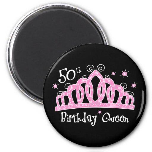 Tiara 50th Birthday Queen DK Fridge Magnet