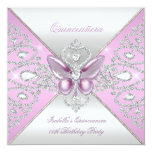 Tiara Pink Butterfly Quinceanera 15th Party 13 Cm X 13 Cm Square Invitation Card
