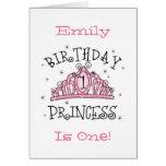Tiara Princess 1st Birthday Card - Customised