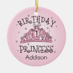 Tiara Princess 1st Birthday Keepsake Ornament