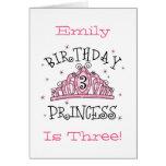 Tiara Princess 3rd Birthday Card - Customised