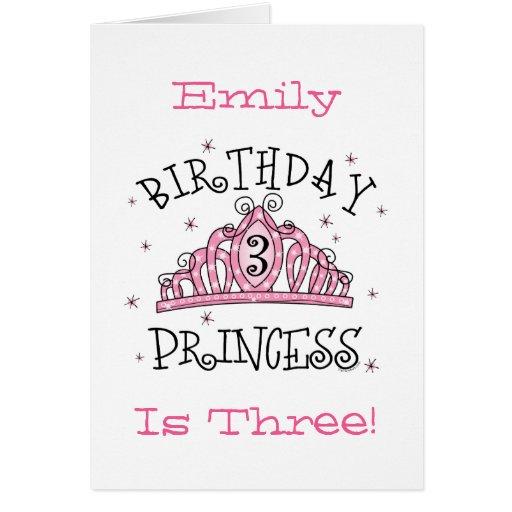 Tiara Princess 3rd Birthday Card - Customized