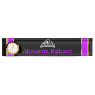 Tiara Princess Magenta Purple Black Gold Name Nameplate