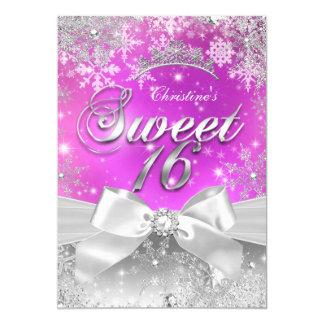 Tiara Sweet 16 Hot Pink Winter Wonderland 13 Cm X 18 Cm Invitation Card